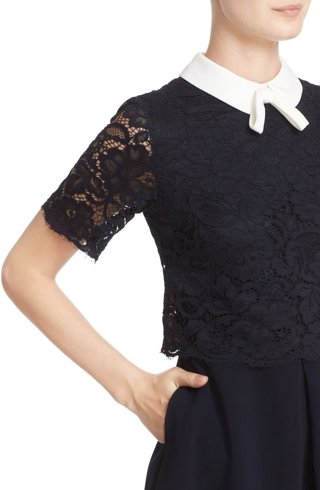 Alternate Image 4  - Ted Baker London 'Dixxy' Contrast Trim Lace Bodice Fit & Flare Dress