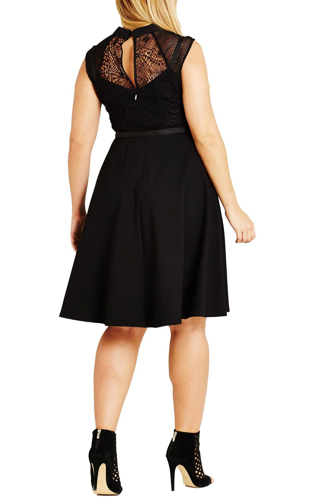 Alternate Image 2  - City Chic Office Romance Fit & Flare Shirtdress (Plus Size)