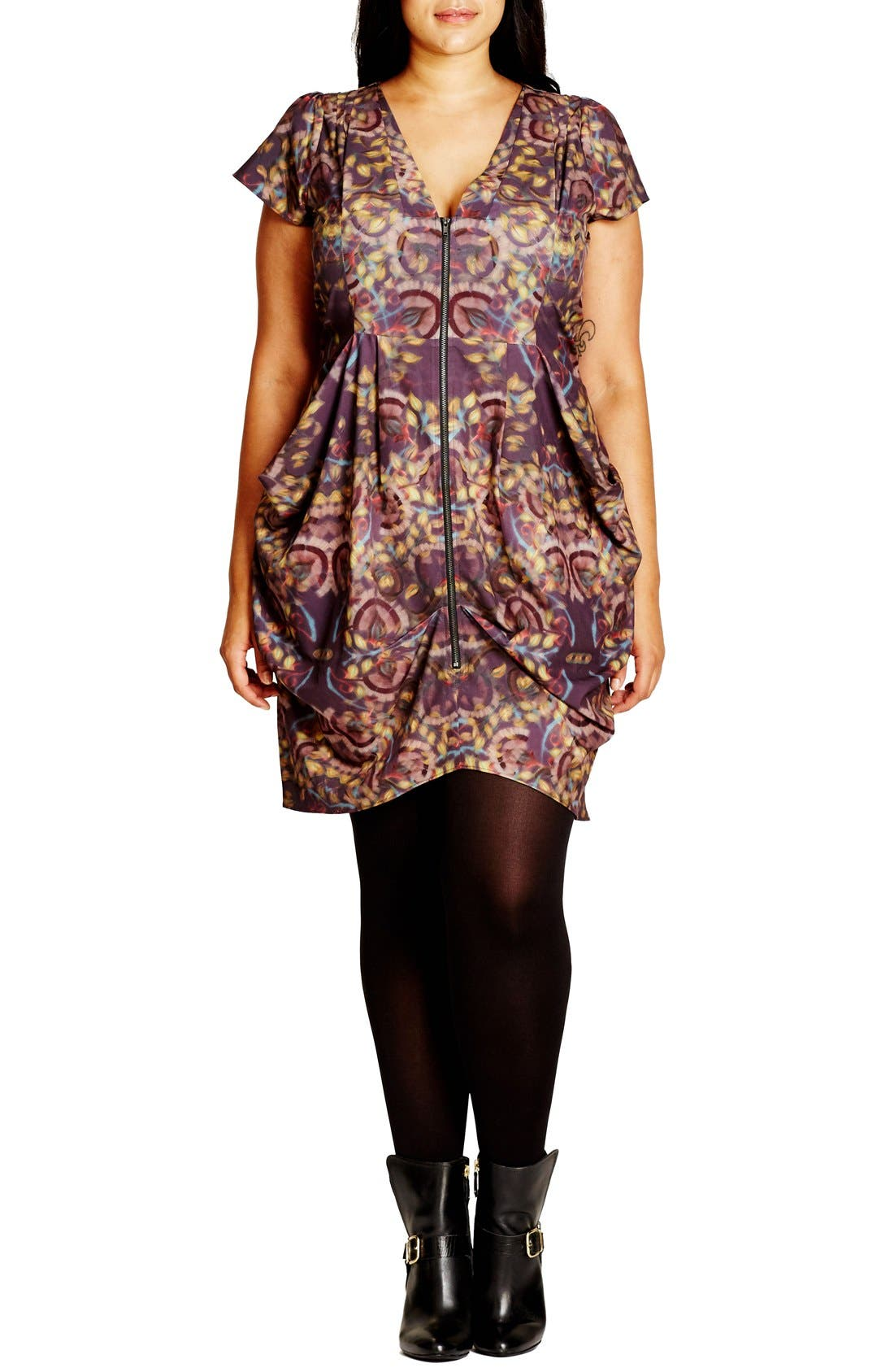 Main Image - City Chic 'Blurred Dream' Print Zip Front Pleat Tunic (Plus Size)
