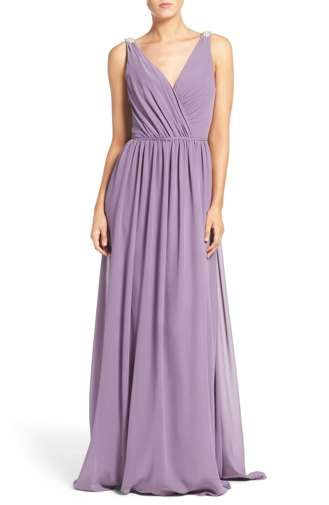 Main Image - Hayley Paige Occasions Embellished Shoulder V-Neck Chiffon Gown