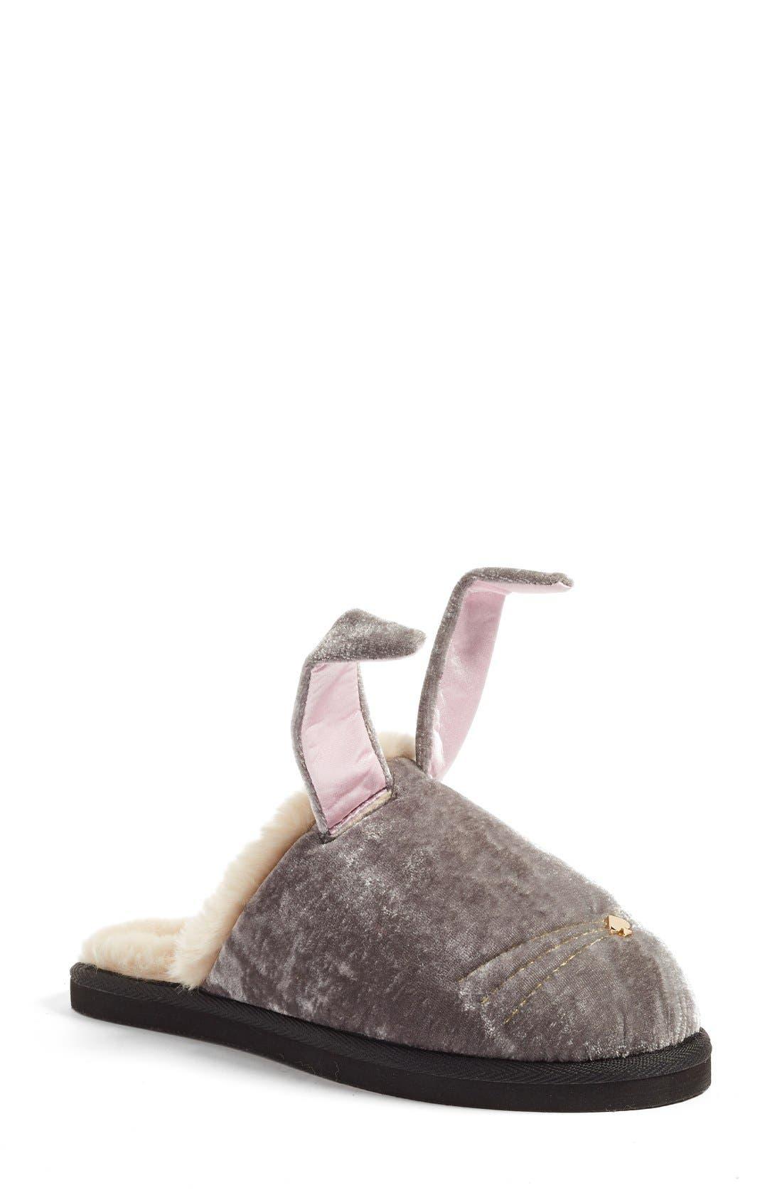 Main Image - kate spade new york 'bonnie - bunny' velvet slipper (Women)