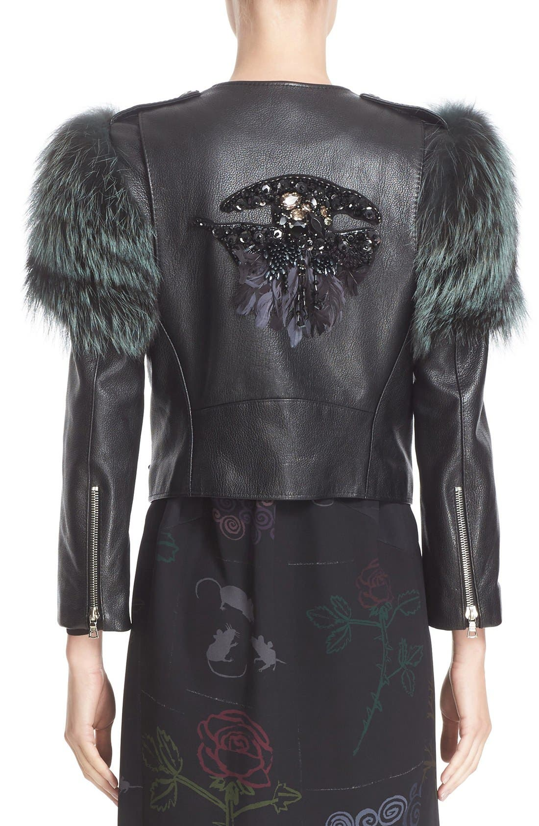 Alternate Image 2  - MARC JACOBS Leather Moto Jacket with Genuine Fox Fur Trim