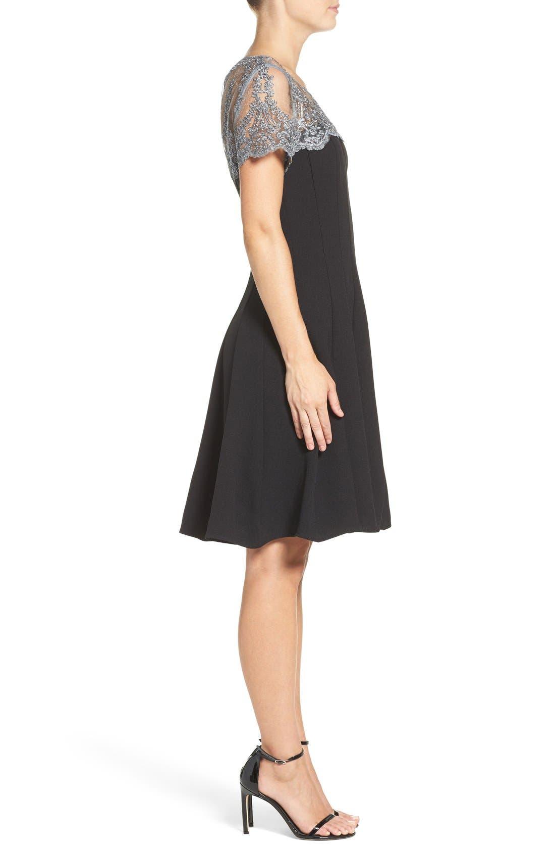 Alternate Image 3  - Chetta B Lace Yoke Fit & Flare Dress
