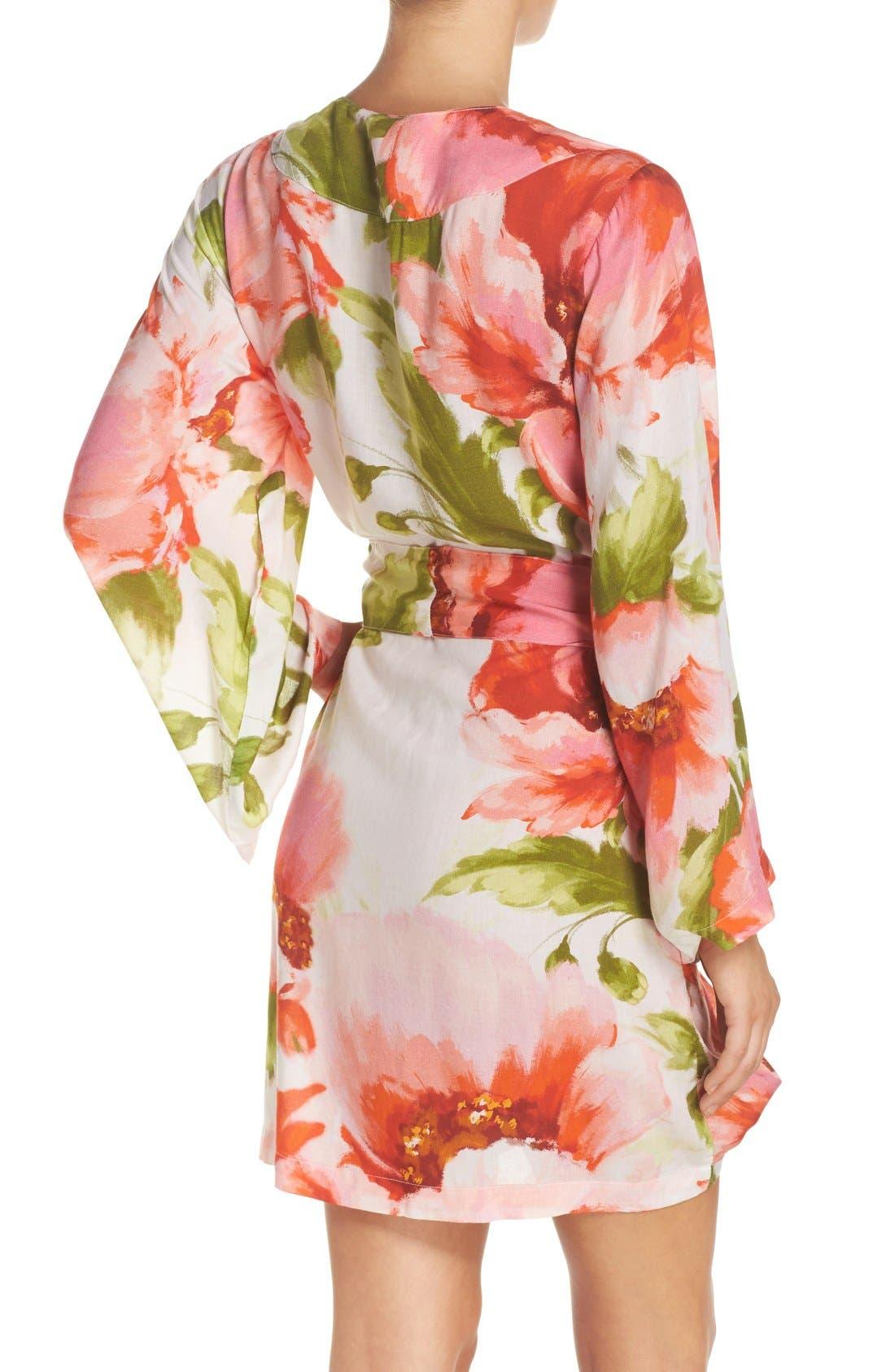 Alternate Image 2  - Plum Pretty Sugar Floral Print Kimono Robe