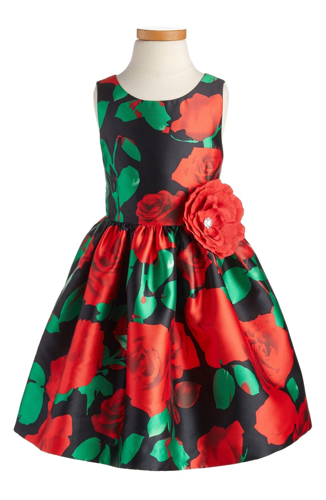 Alternate Image 1 Selected - Pippa & Julie Rose Print Fit & Flare Dress (Toddler Girls, Little Girls & Big Girls)