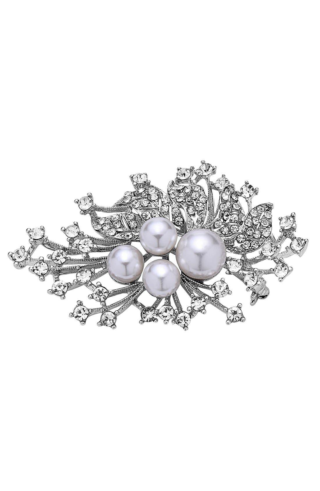Alternate Image 1 Selected - Nina 'Crystal Spray' Crystal & Faux Pearl Brooch