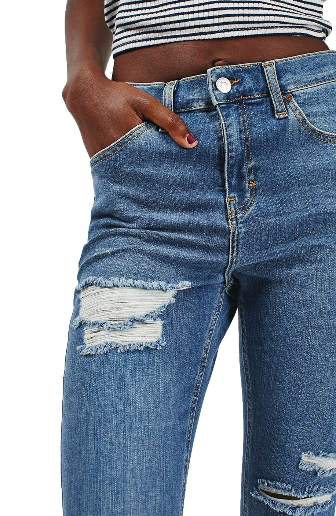 Alternate Image 5  - Topshop 'Jamie' Ripped High Rise Ankle Skinny Jeans (Petite)