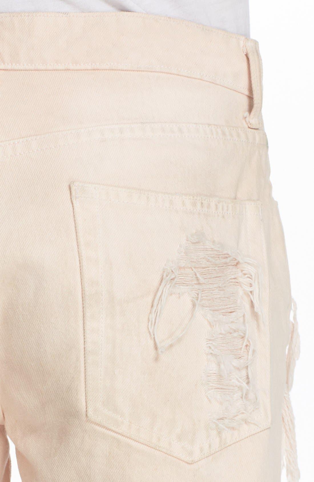 Alternate Image 5  - Alexander Wang 'Romp' Destroyed Cutoff Denim Shorts (Carnation)