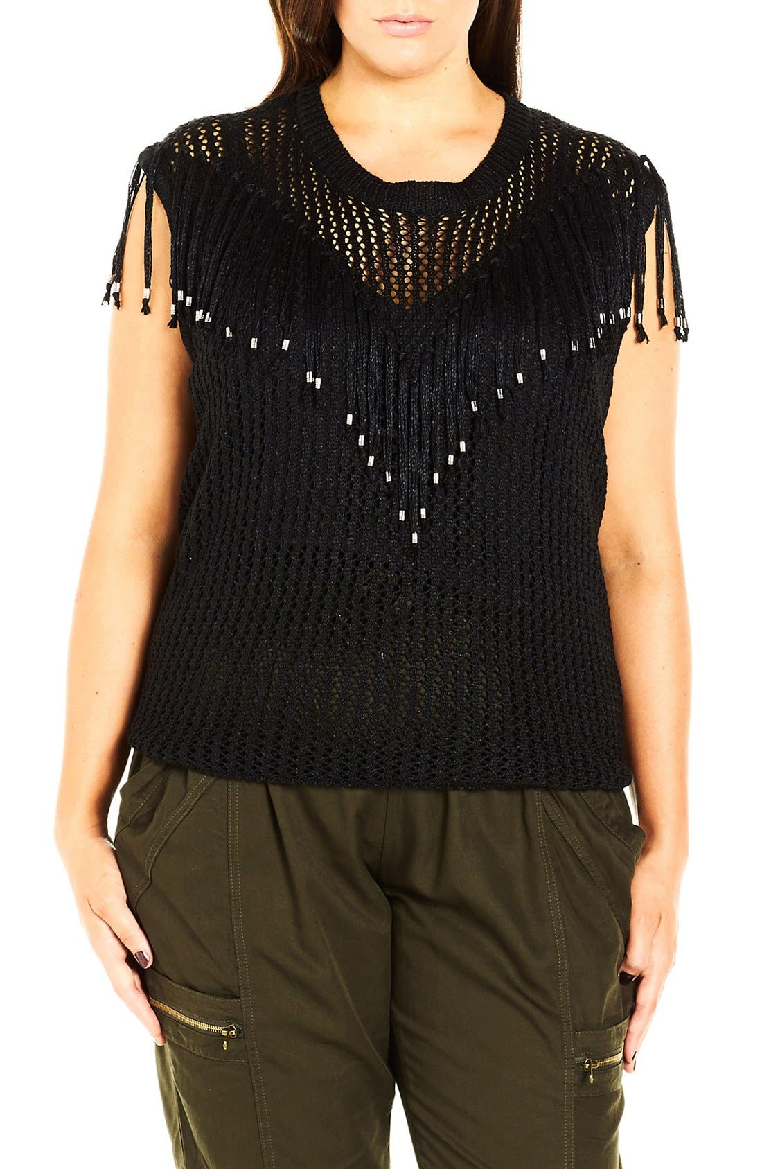 City Chic 'Fringe Fever' Sleeveless Sweater (Plus Size)