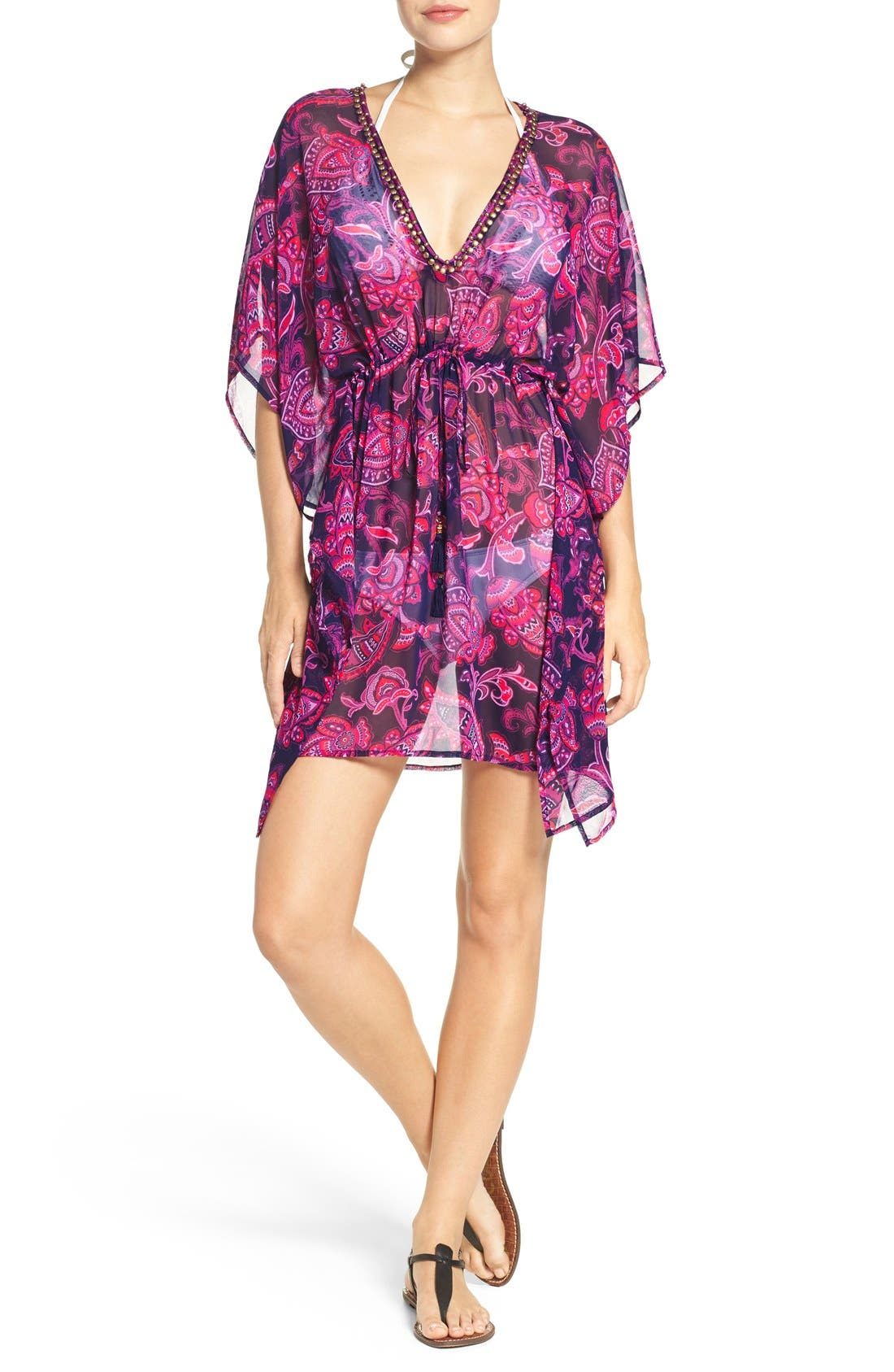 TOMMY BAHAMA 'Jacobean' Beaded Neck Cover-Up Tunic