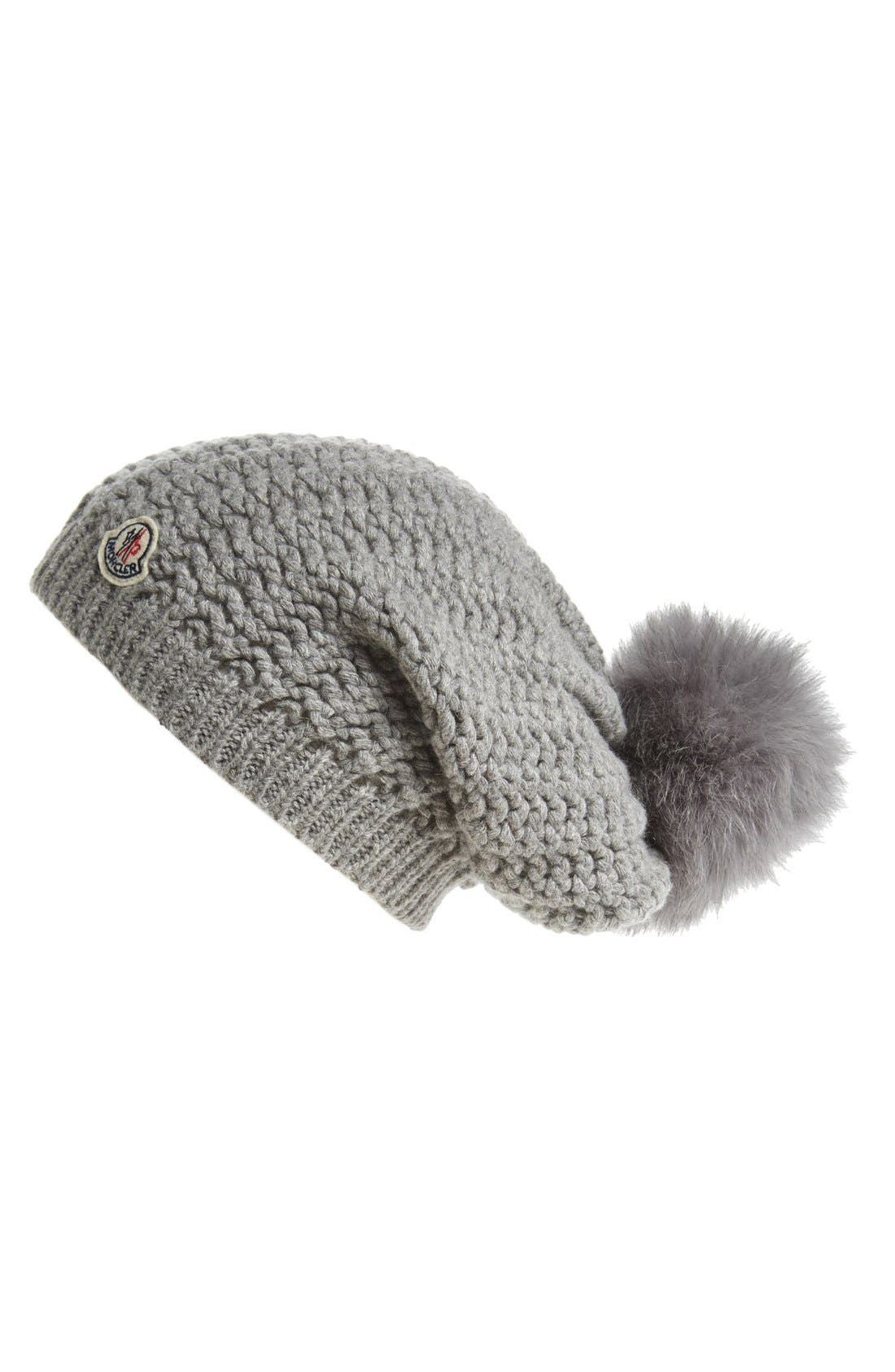 Alternate Image 1 Selected - Moncler Waffle Knit Beanie with Genuine Fox Fur Pom