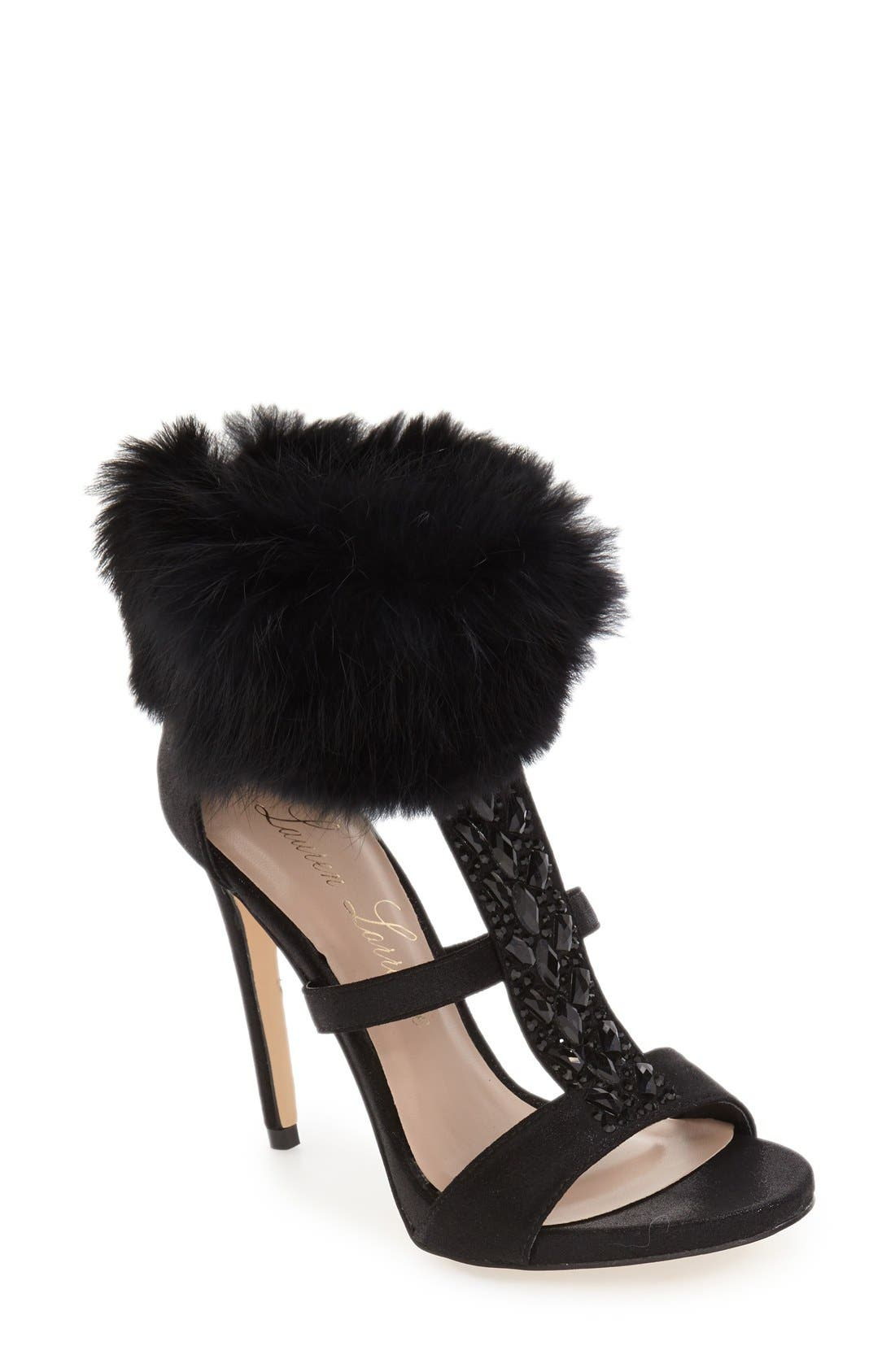 LAUREN LORRAINE 'Angela' Genuine Rabbit Fur Cuff Sandal