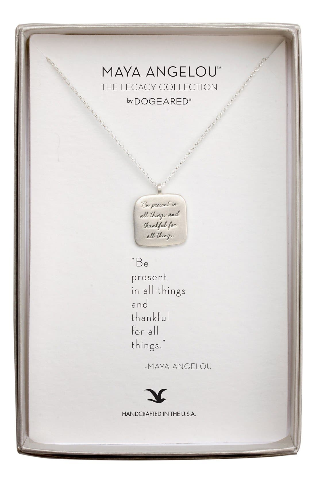 Dogeared 'Legacy Collection - Be Present' Pendant Necklace