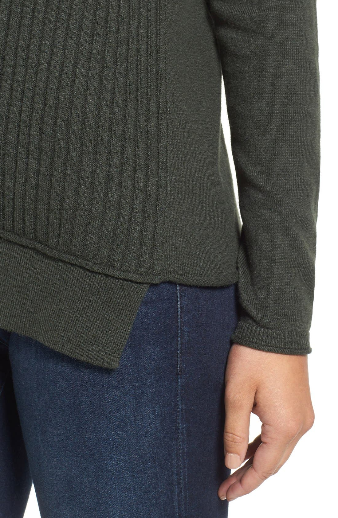 Alternate Image 4  - Caslon® Asymmetrical Ribbed Sweater