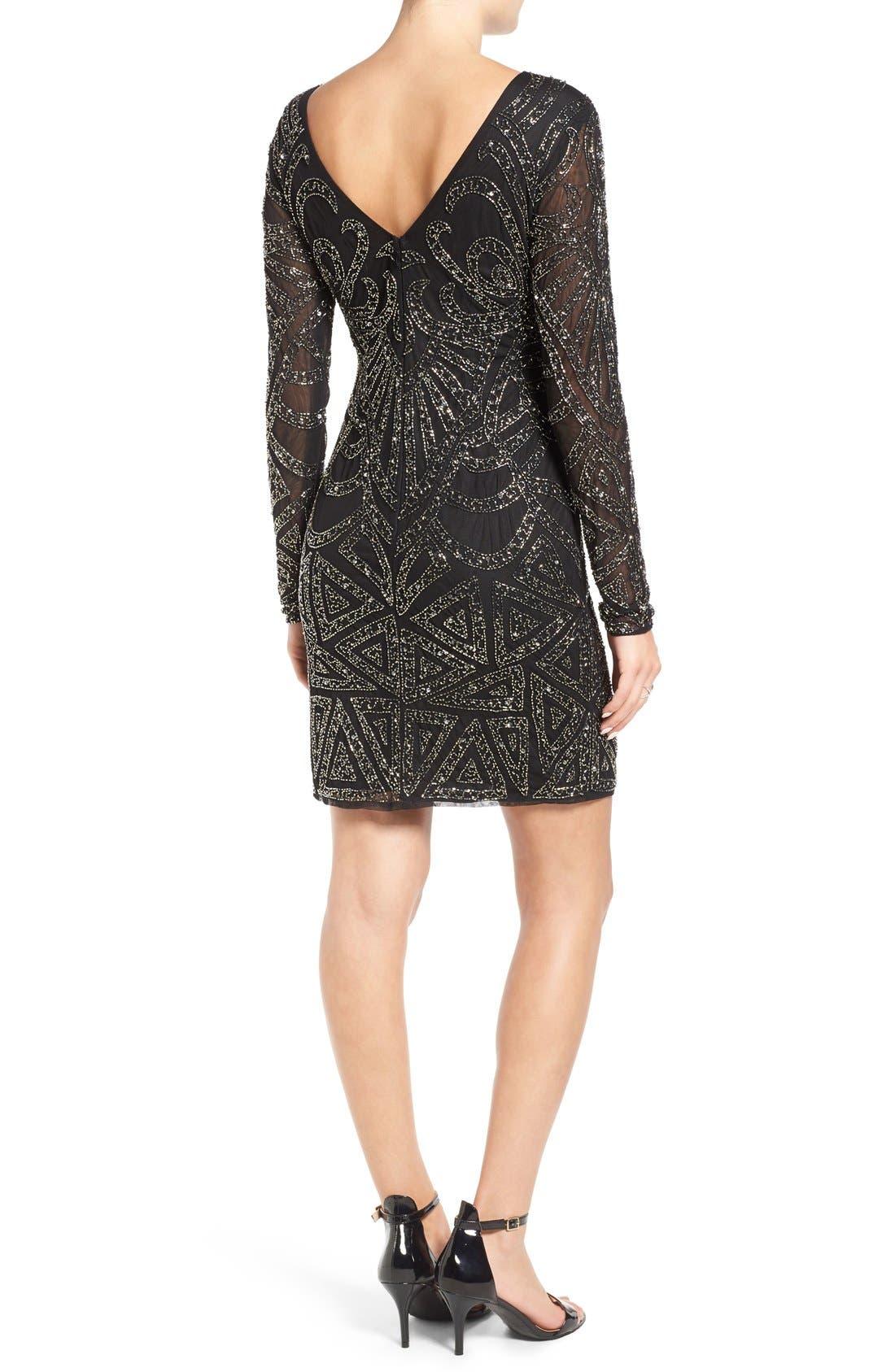 Alternate Image 2  - Lace & Beads 'Brooklyn' Embellished Long Sleeve Sheath Dress