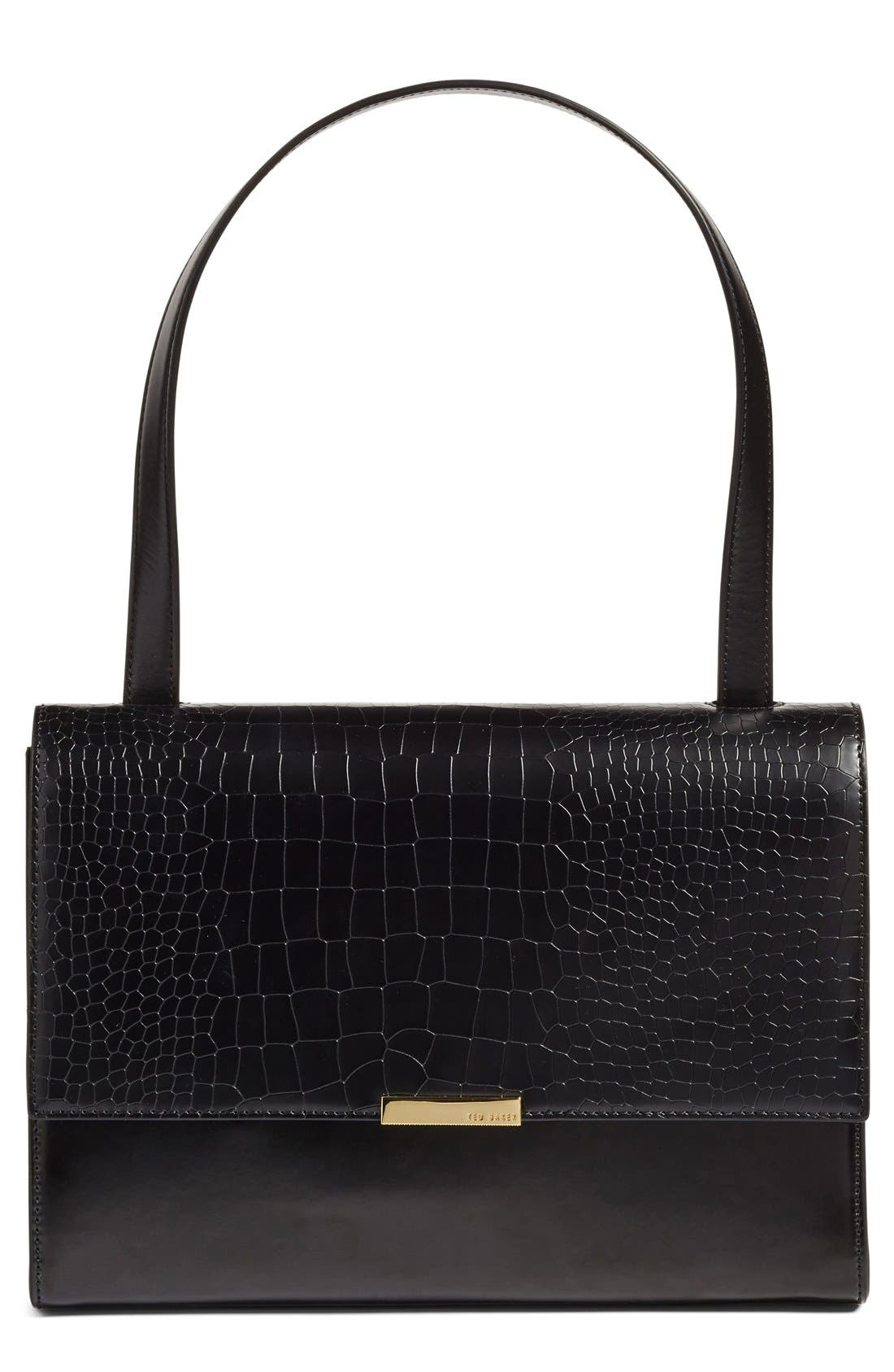 Main Image - Ted Baker London 'Lowri' Croc Embossed Leather Shoulder Bag