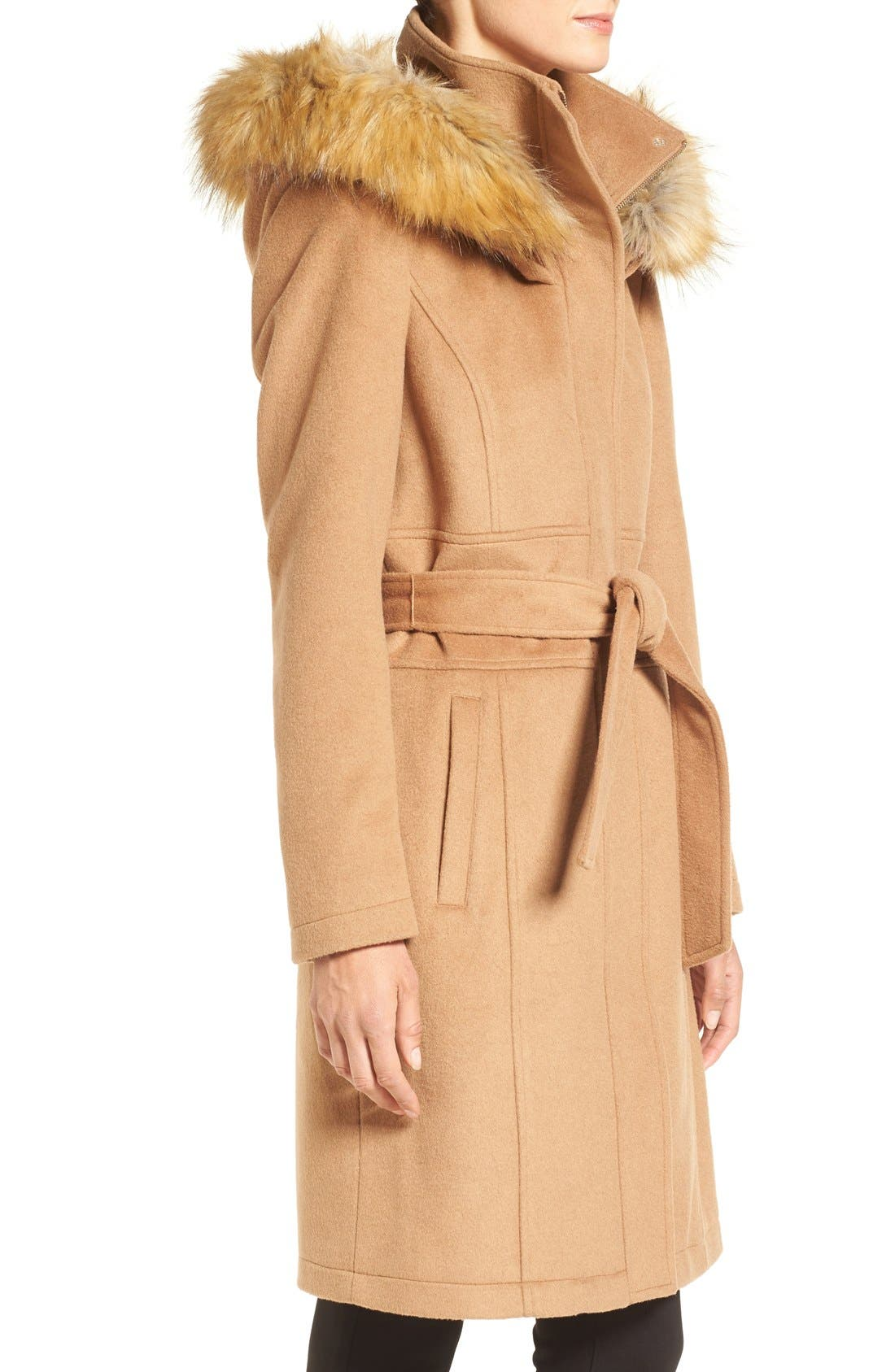 Alternate Image 3  - Ivanka Trump Wool Blend Coat with Removable Faux Fur Trim Hood