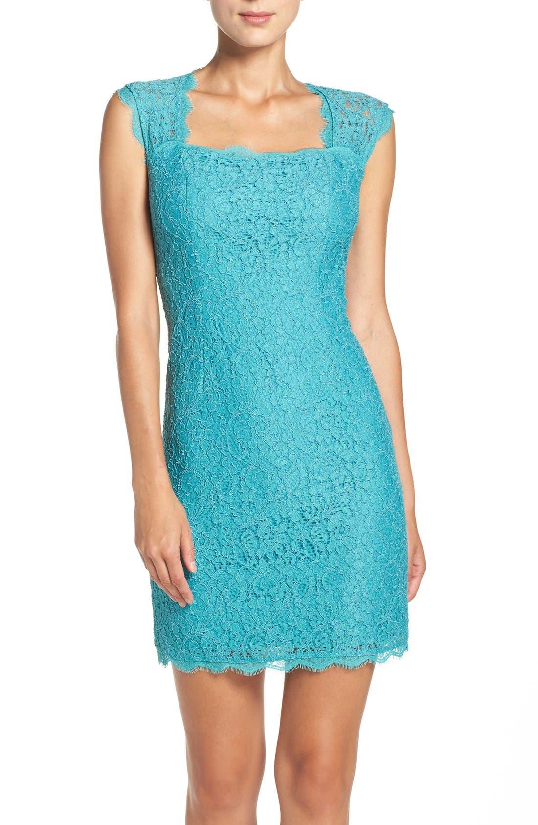 Main Image - Adrianna Papell Lace Sheath Dress (Regular & Petite)