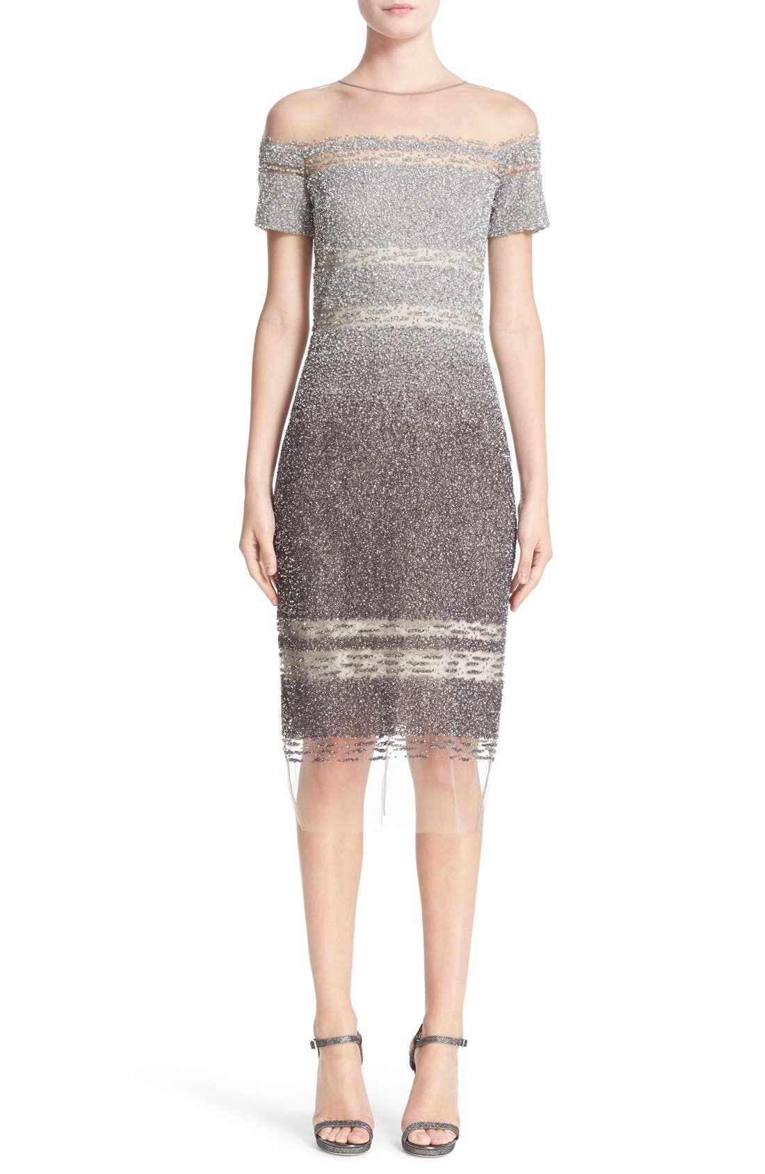 PAMELLA ROLAND Signature Sequin Cap Sleeve Cocktail Dress