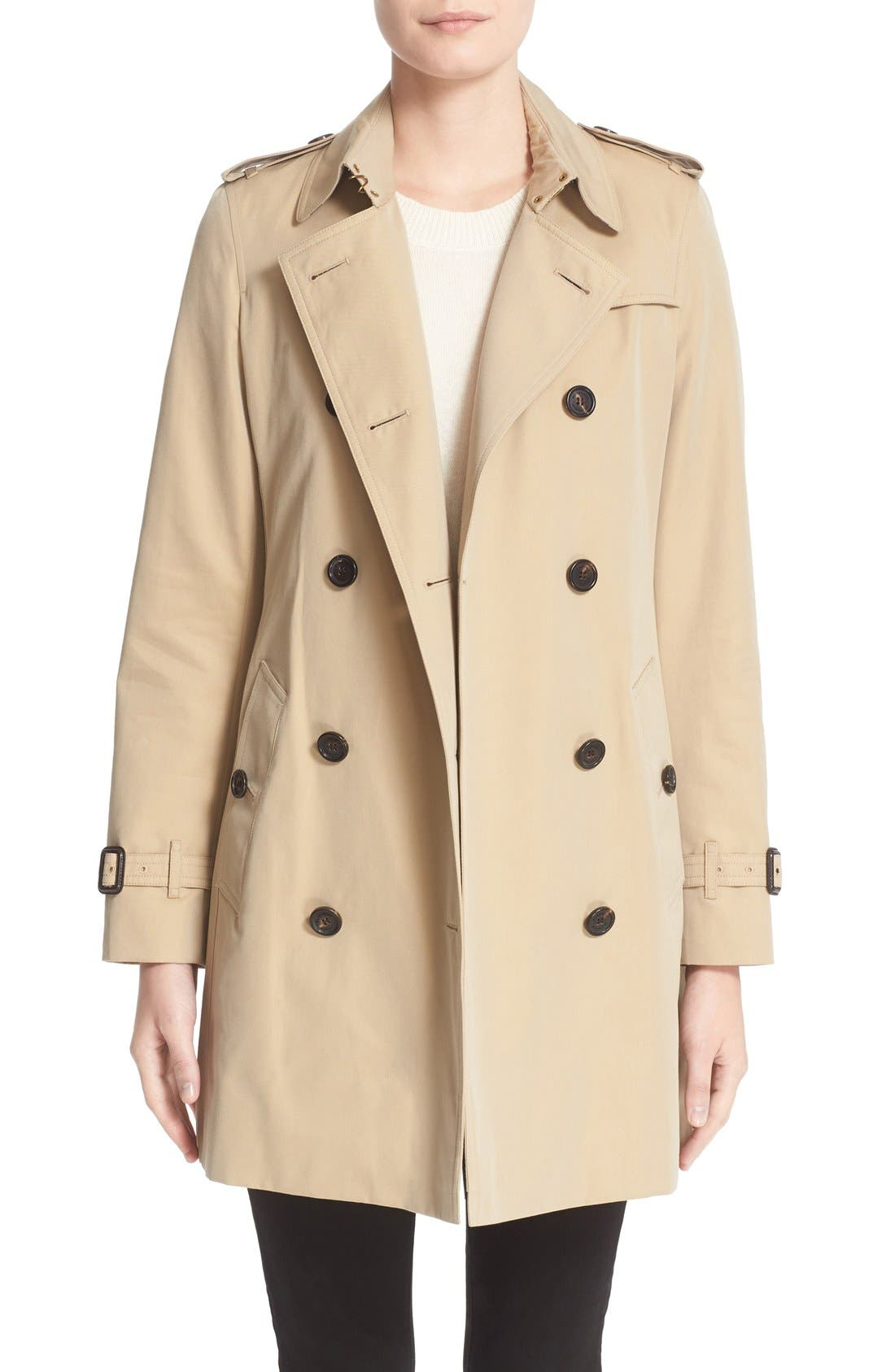 BURBERRY London 'Kensington' Double Breasted Trench Coat