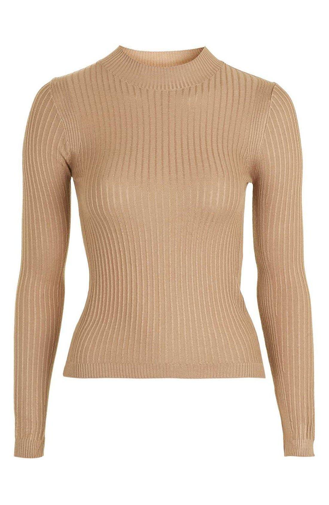 Alternate Image 4  - Topshop Textured Stripe Mock Neck Sweater