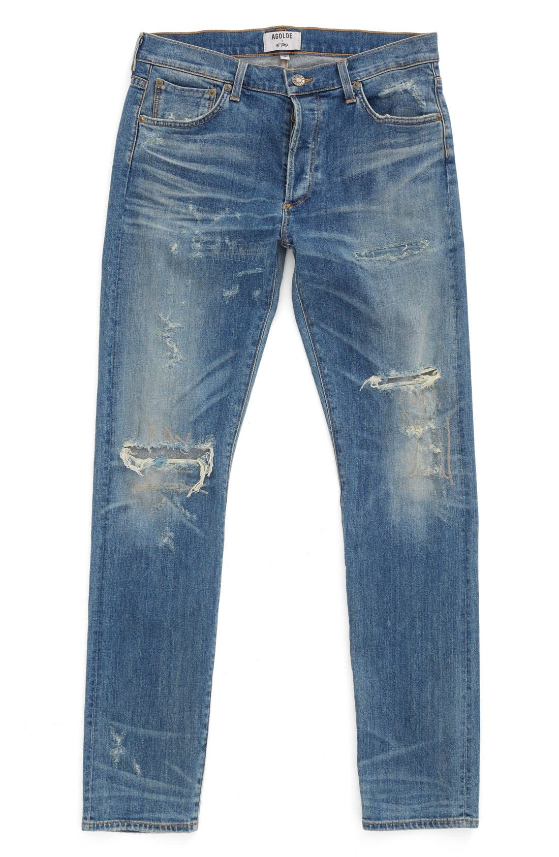 Alternate Image 1 Selected - AGOLDE Skinny Fit Distressed Jeans (H-Town) (Men)