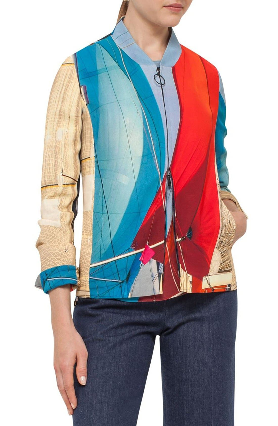 AKRIS PUNTO 'Mainsail' Print Crepe Bomber Jacket