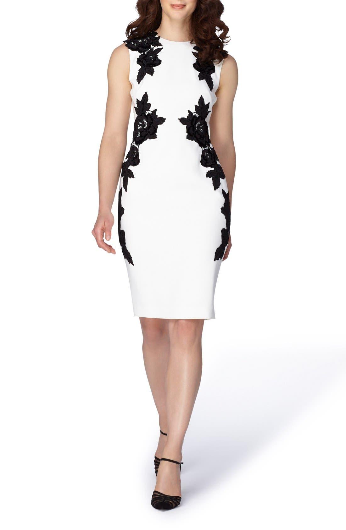 Main Image - Tahari Appliqué Crepe Sheath Dress (Regular & Petite)
