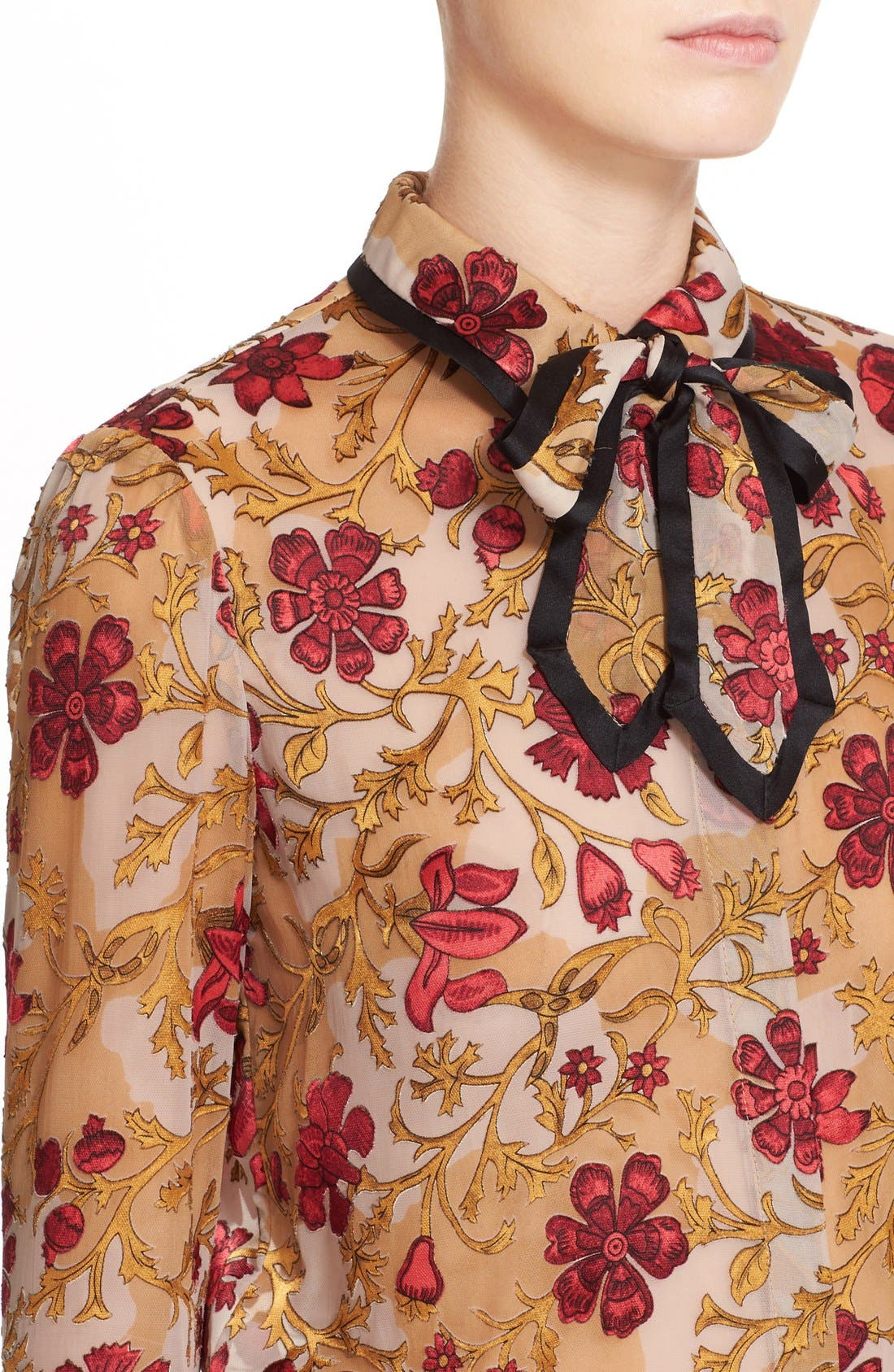 Alternate Image 4  - Alice + Olivia 'Cora' Print Contrast Trim Tie Neck Blouse