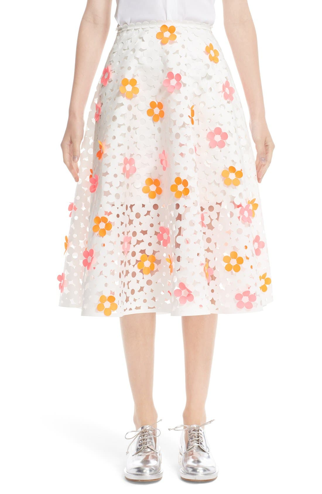 PASKAL Floral Laser Cut Midi Skirt