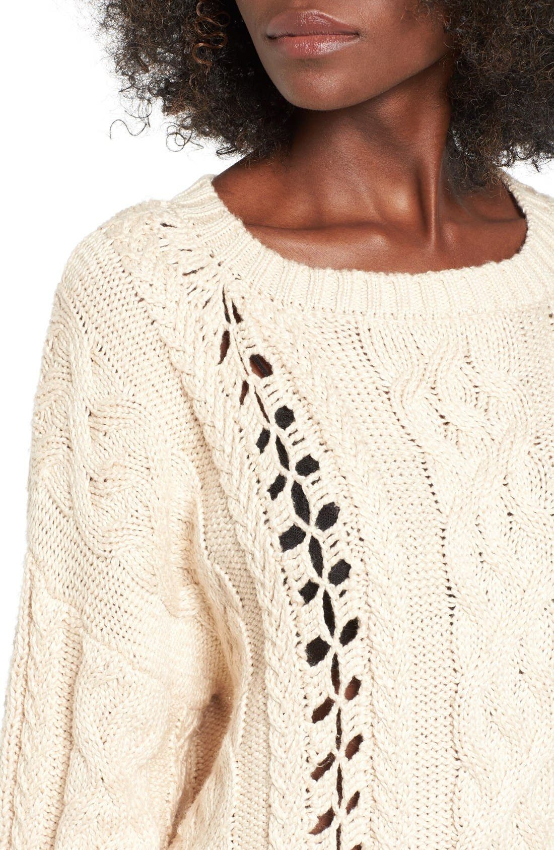Alternate Image 5  - For Love & Lemons Wythe Cable Knit Sweater