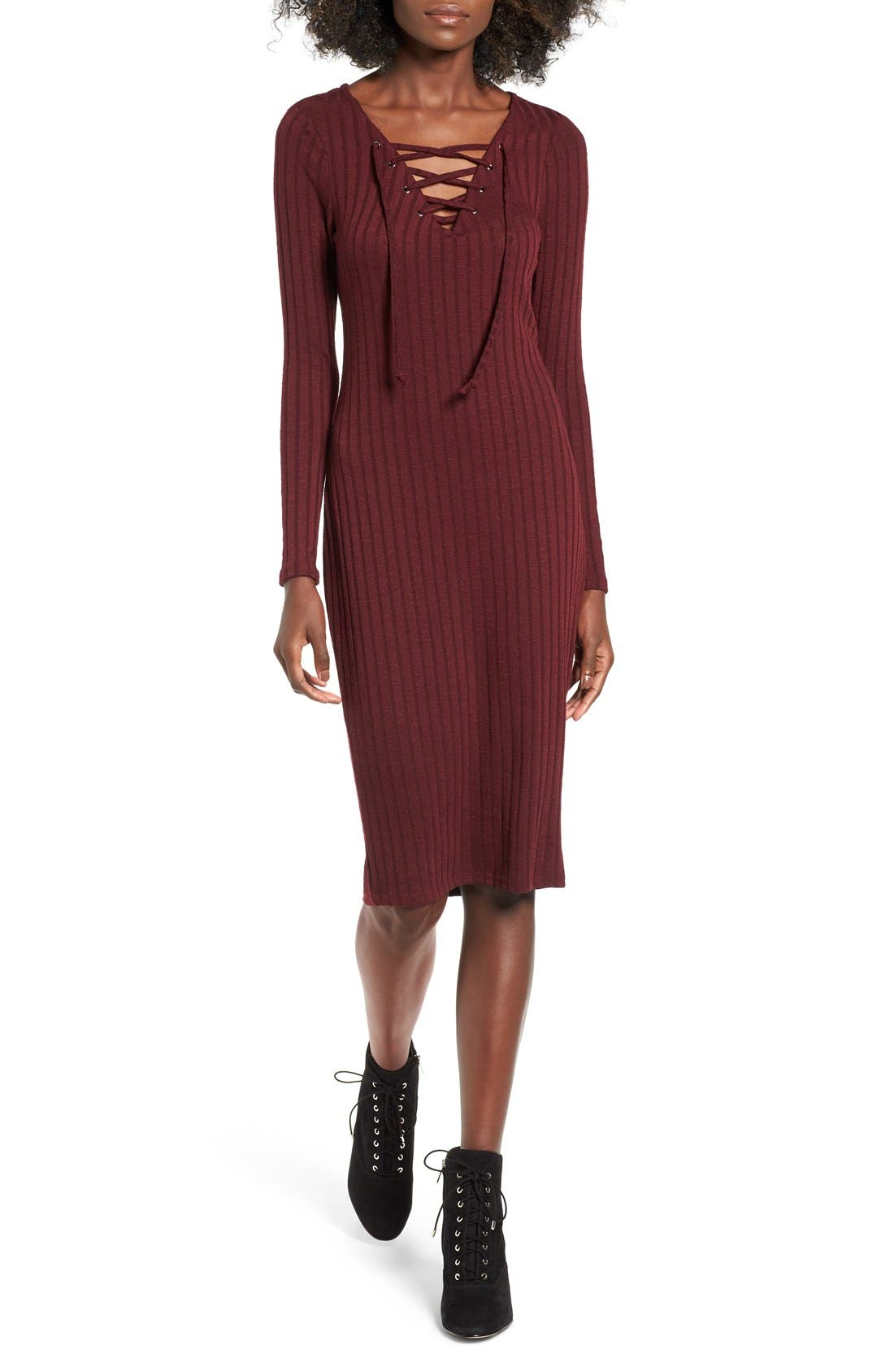 Alternate Image 1 Selected - Love, Fire Lace-Up Rib Knit Dress