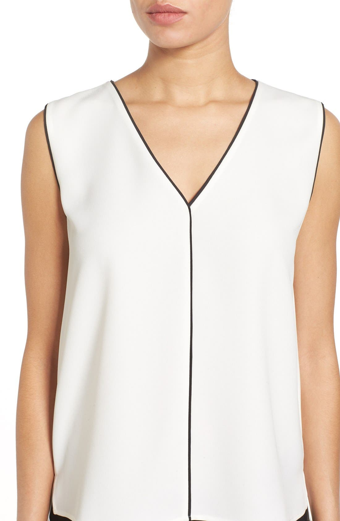 Alternate Image 4  - Halogen® Piped V-Neck Sleeveless Top (Regular & Petite)
