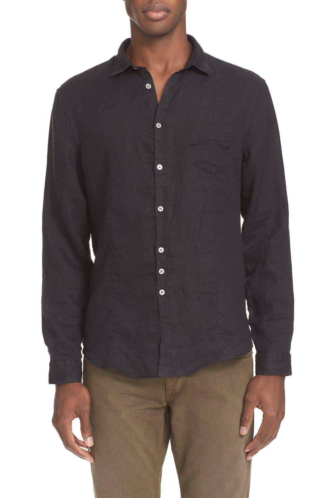 JOHN VARVATOS COLLECTION Slim Fit Linen Sport Shirt