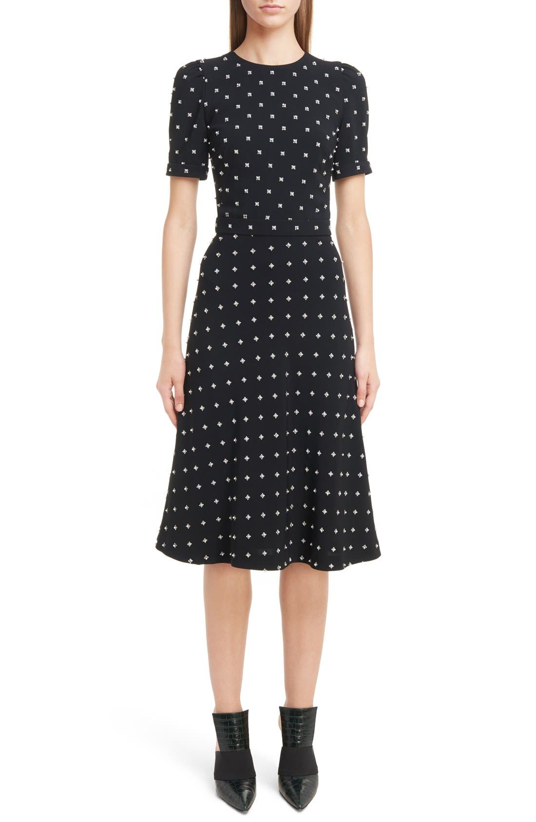 GIVENCHY Imitation Pearl Embellished Lily Print Dress