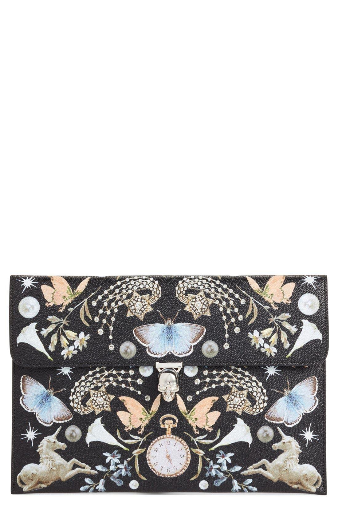 Alternate Image 1 Selected - Alexander McQueen 'Nocturnal Skull' Calfskin Leather Clutch