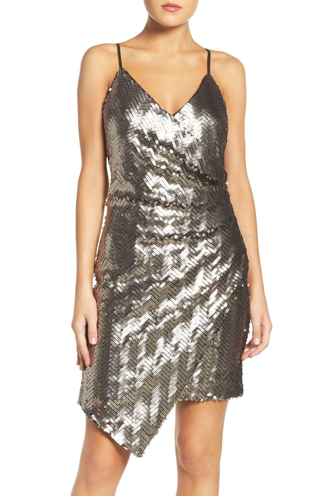 Main Image - Adelyn Rae Asymmetrical Sequin Faux-Wrap Dress