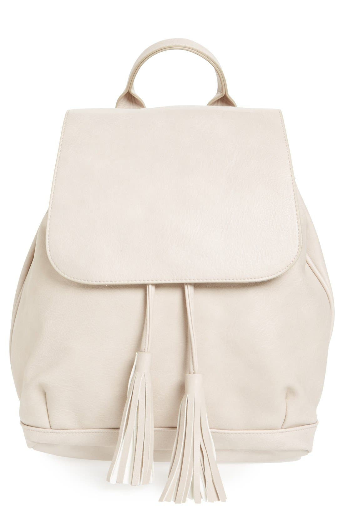Main Image - BP. Tassel Flap Faux Leather Backpack