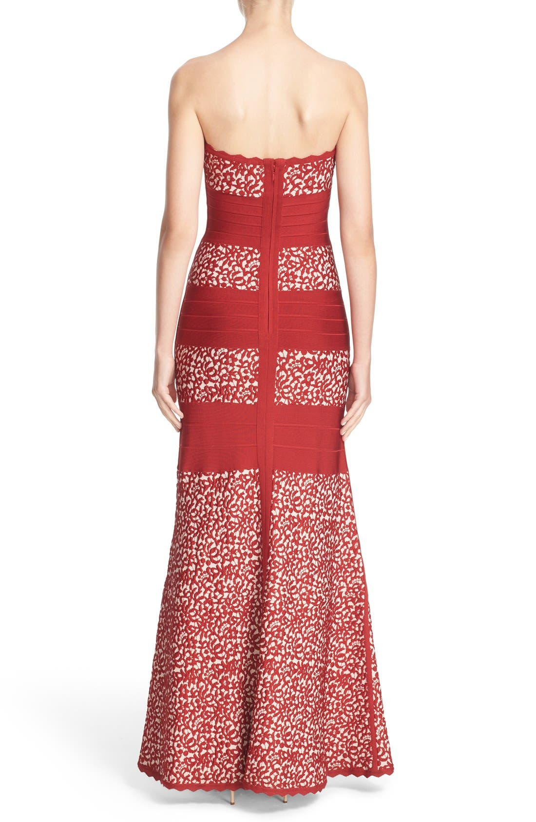 Alternate Image 2  - Herve Leger Raised Lace Detail Strapless Bandage Mermaid Gown