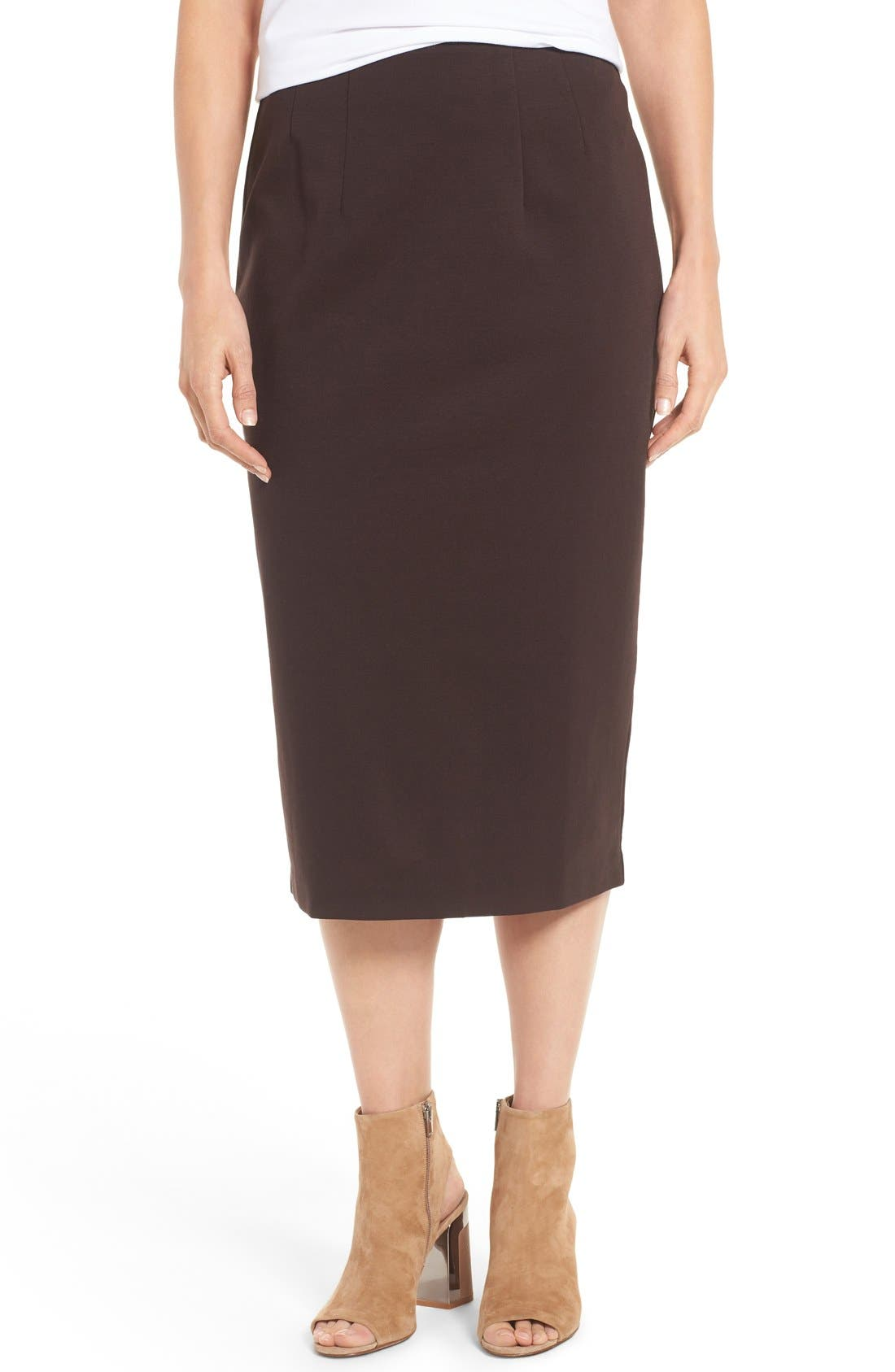 eileen fisher stretch ponte calf length pencil skirt