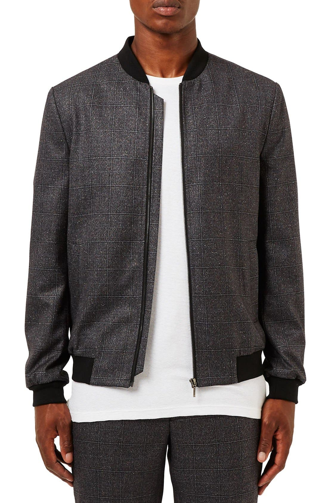 Alternate Image 1 Selected - Topman Plaid Bomber Jacket