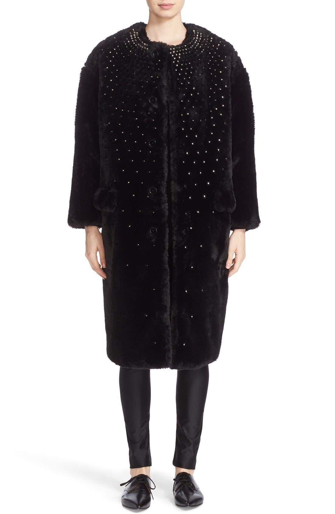 Alternate Image 1 Selected - noir kei ninomiya Studded Faux Fur Coat