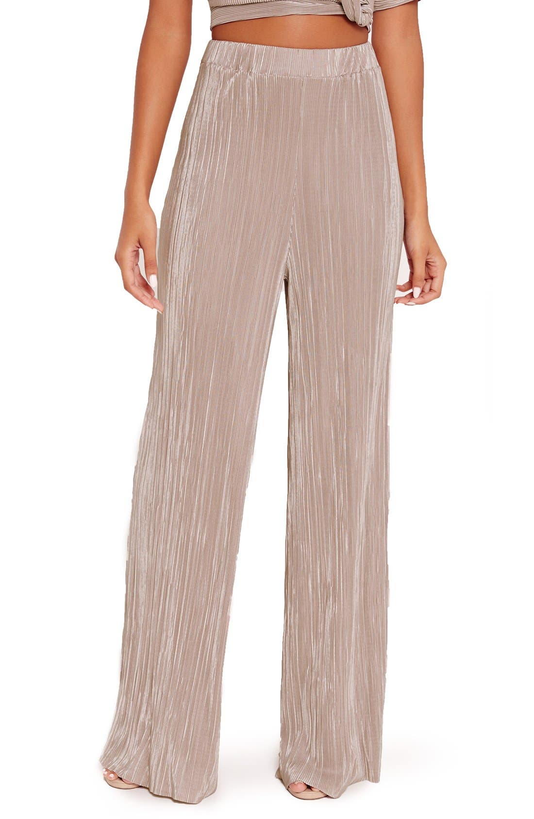 Main Image - Missguided Wide Leg Pleat Trousers