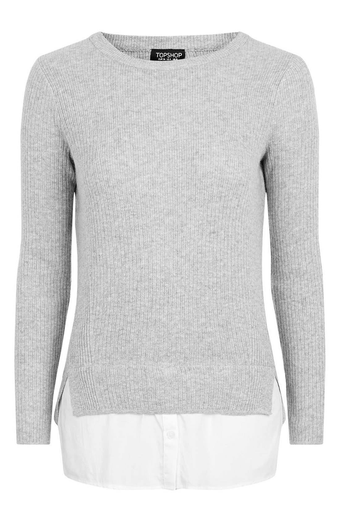 Alternate Image 5  - Topshop Ribbed Layered Sweater