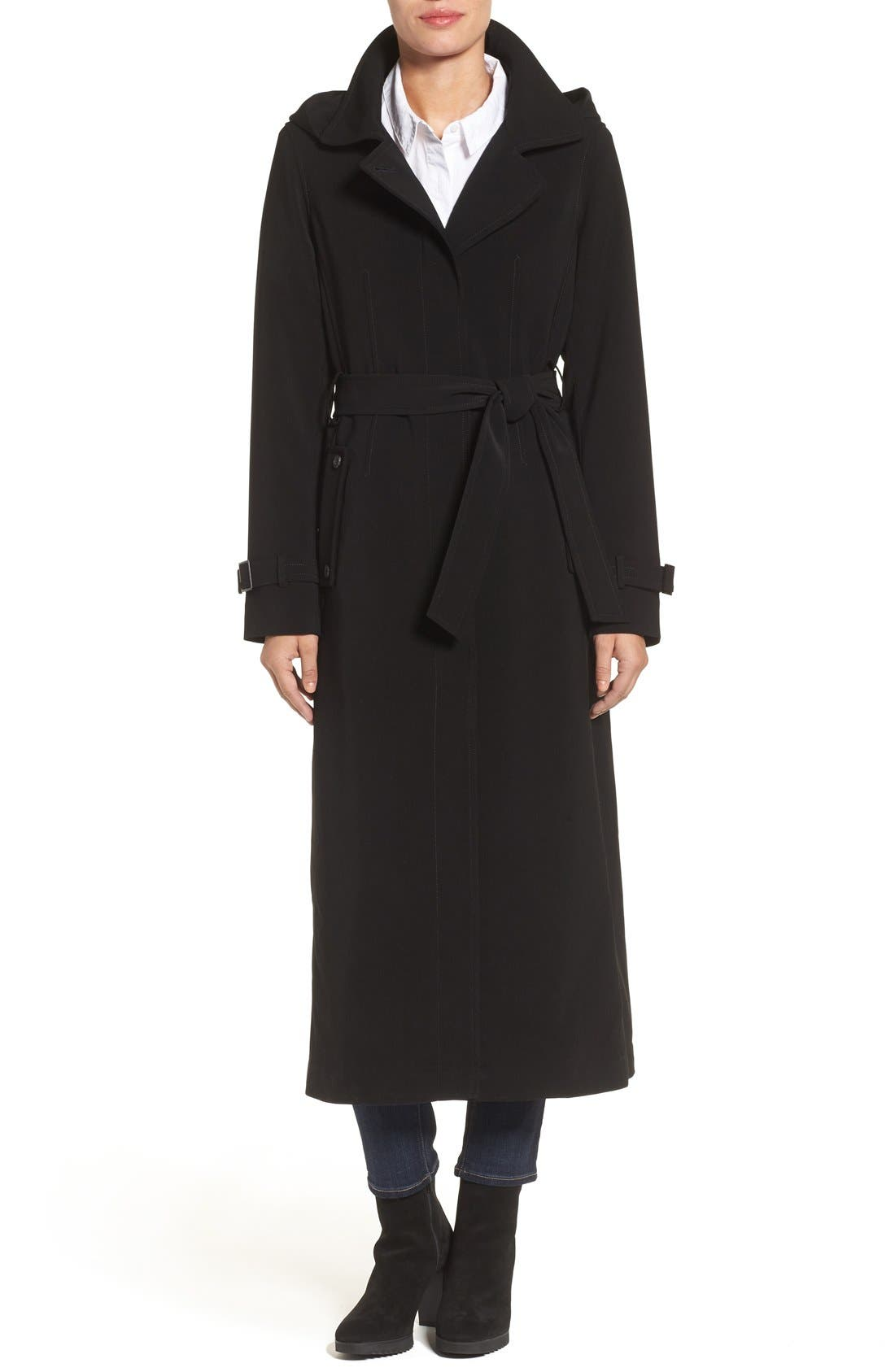 GALLERY Belted Long Nepage Raincoat with Detachable Hood