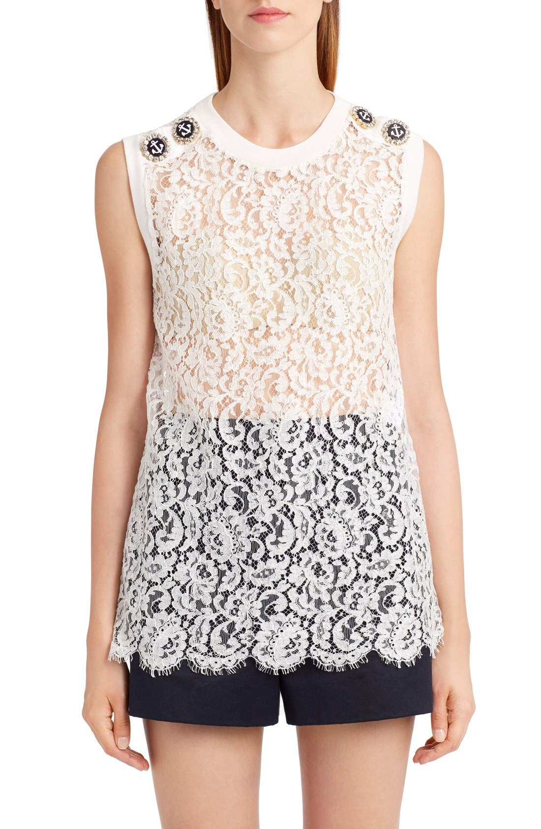 DOLCE&GABBANA Sleeveless Lace Top
