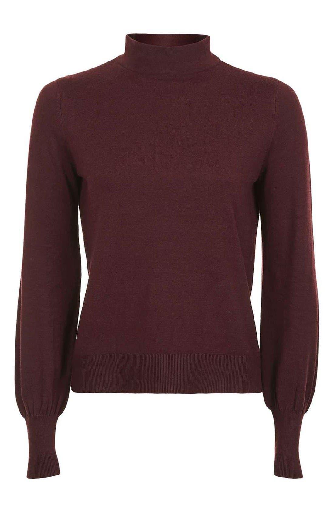 Alternate Image 4  - Topshop Blouson Sleeve Mock Neck Sweater
