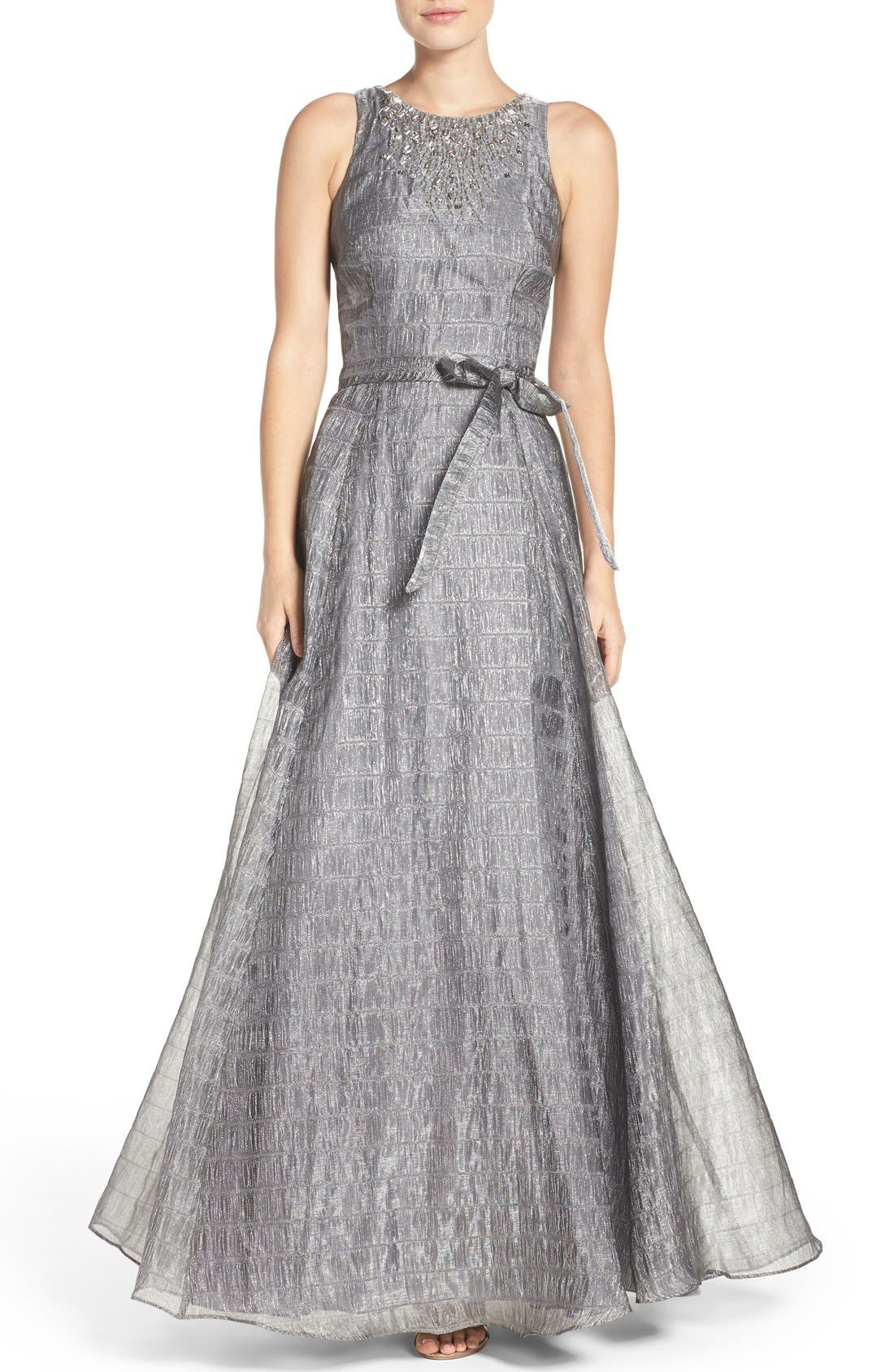 Alternate Image 1 Selected - Aidan Mattox Beaded Metallic Organza Gown