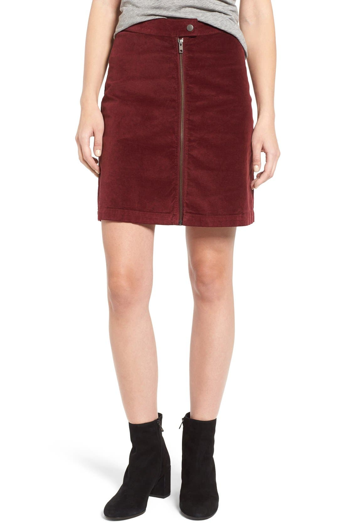 Alternate Image 1 Selected - Madewell Zip Front A-Line Miniskirt