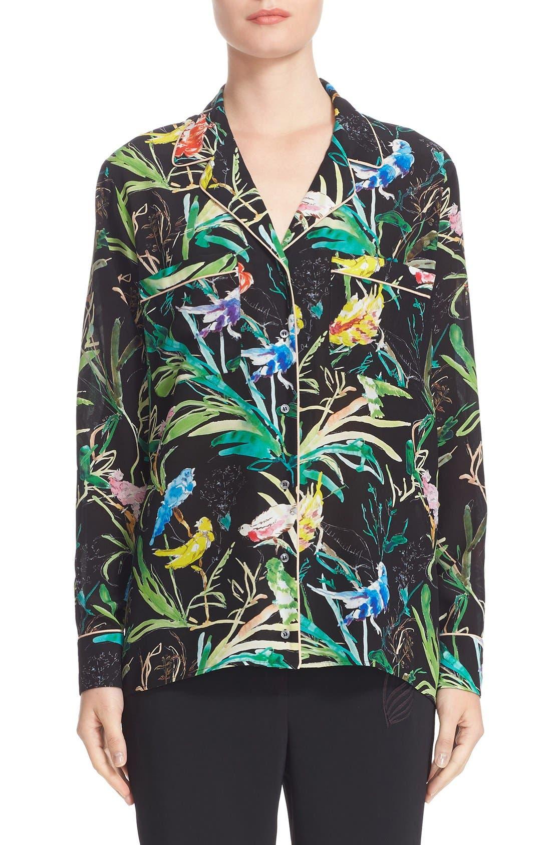 N°21 Tropical Print Silk Pajama Blouse